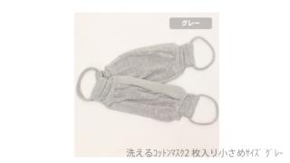 【訳あり】洗えるコットンマスク2枚入り小さめサイズ グレー
