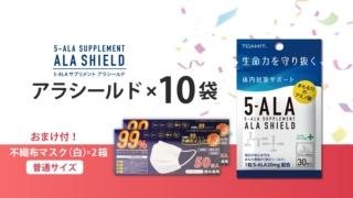 アラシールド 10袋セット + 不織布マスク ふつうサイズ(白)50枚入2個おまけ付き